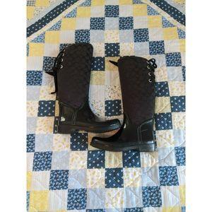 Coach Tristee 12CM Sig C/Shiny Rubber Boots Size 8
